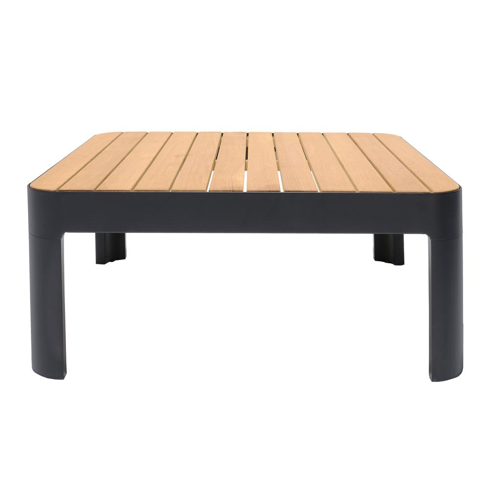Portals Outdoor Square Coffee Table in Black Finish with Natural Teak Wood Top. Picture 3