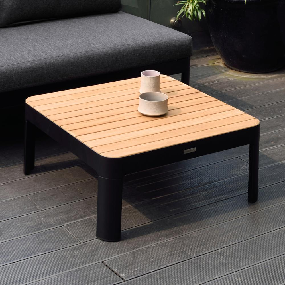 Portals Outdoor Square Coffee Table in Black Finish with Natural Teak Wood Top. Picture 4