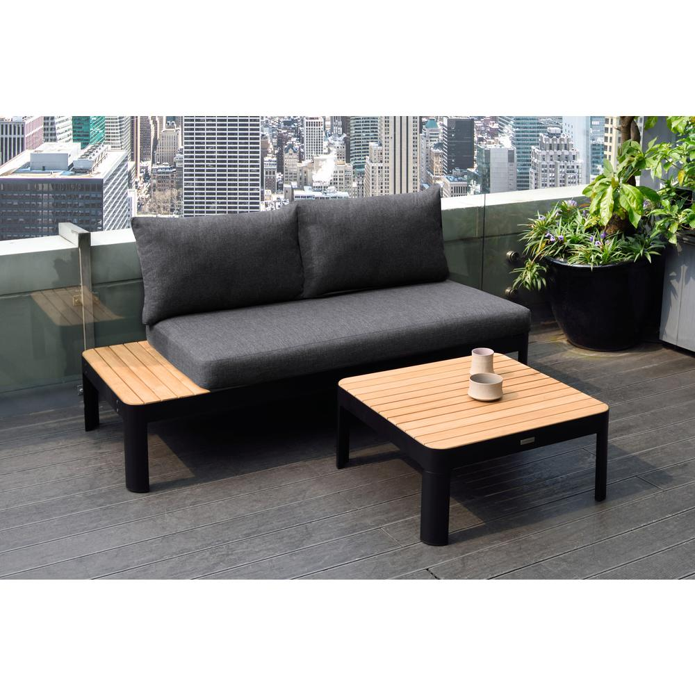 Portals Outdoor Square Coffee Table in Black Finish with Natural Teak Wood Top. Picture 5