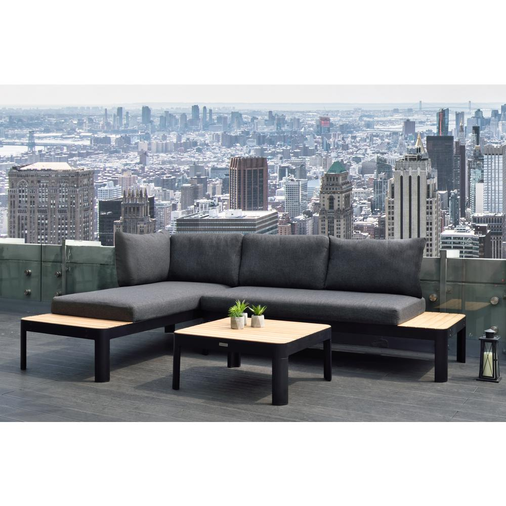 Portals Outdoor Square Coffee Table in Black Finish with Natural Teak Wood Top. Picture 6