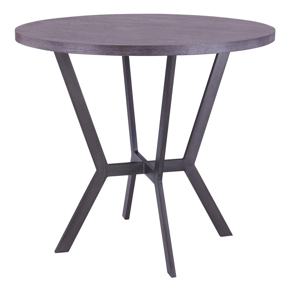 Contemporary Bar Table in Mineral Finish and Gray Walnut Top. Picture 1