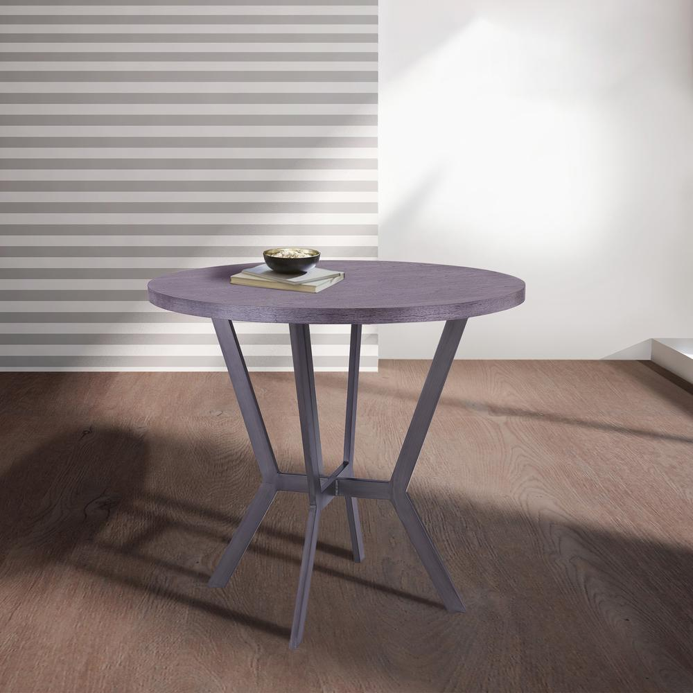 Contemporary Bar Table in Mineral Finish and Gray Walnut Top. Picture 4