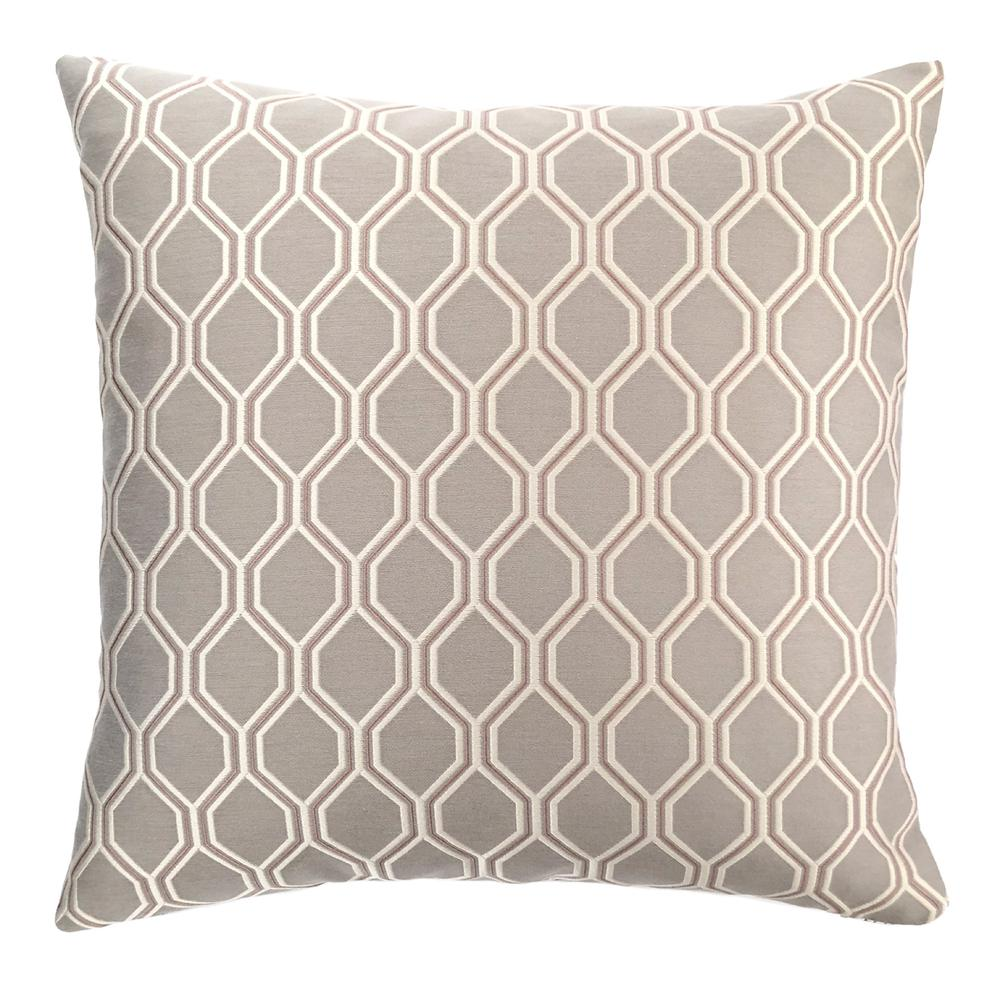 Contemporary Decorative Feather and Down Throw Pillow - Dove Jacquard Fabric. Picture 1