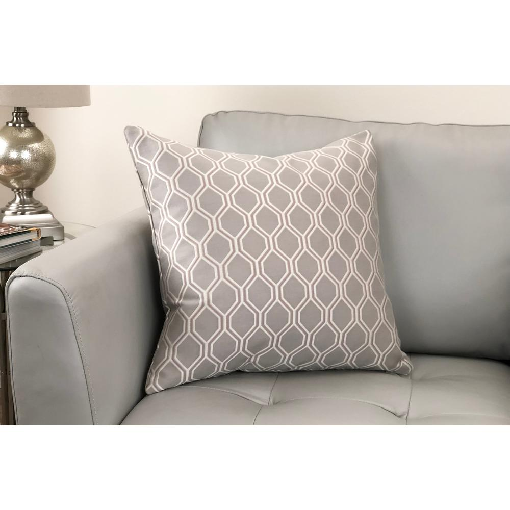 Contemporary Decorative Feather and Down Throw Pillow - Dove Jacquard Fabric. Picture 2