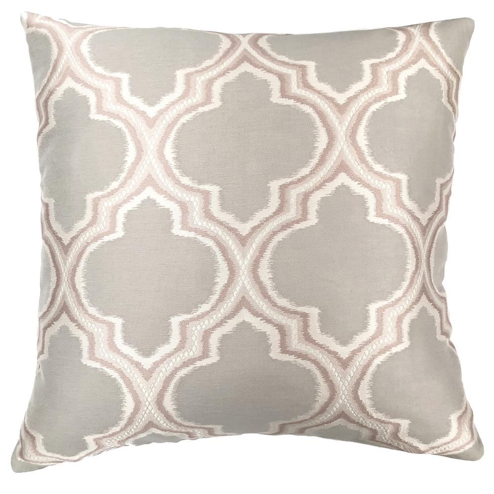 Contemporary Decorative Feather and Down Throw Pillow In Dove Jacquard Fabric. Picture 1