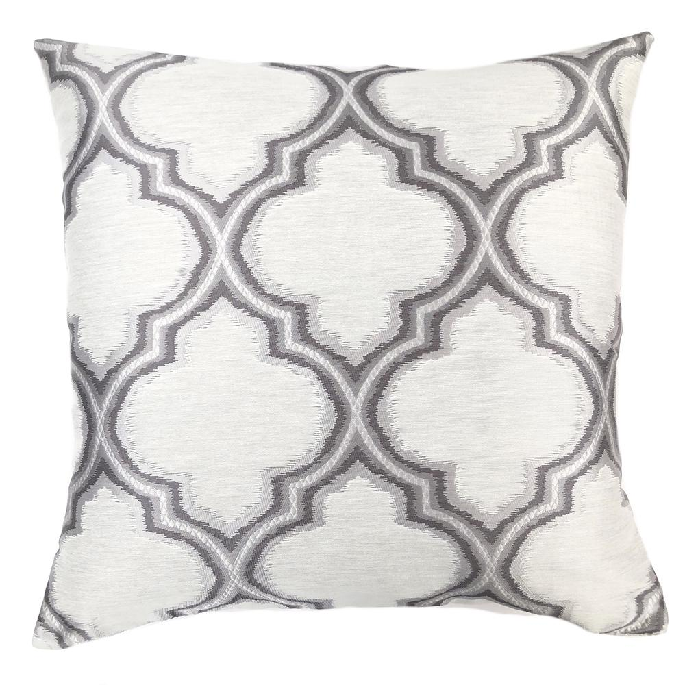 Contemporary Decorative Feather and Down Throw Pillow In Gray Jacquard Fabric. Picture 1