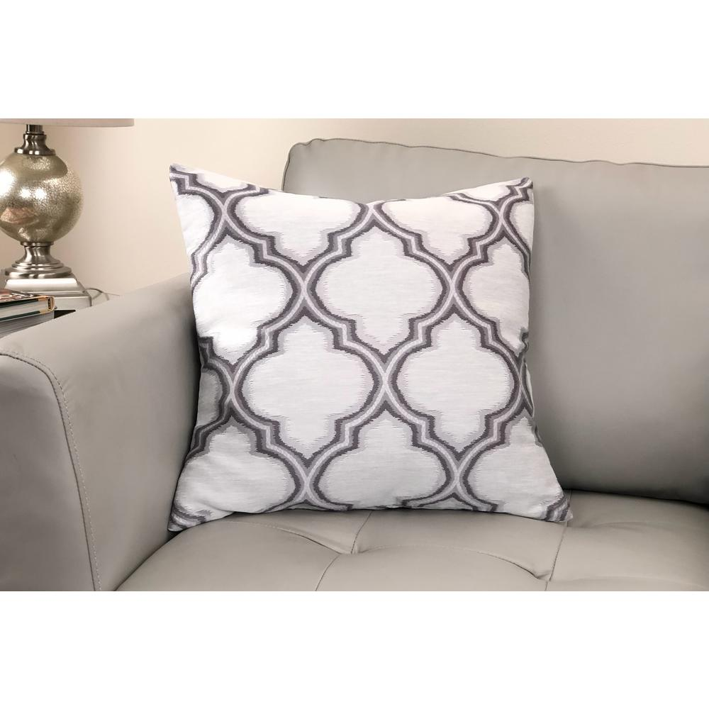 Contemporary Decorative Feather and Down Throw Pillow In Gray Jacquard Fabric. Picture 2