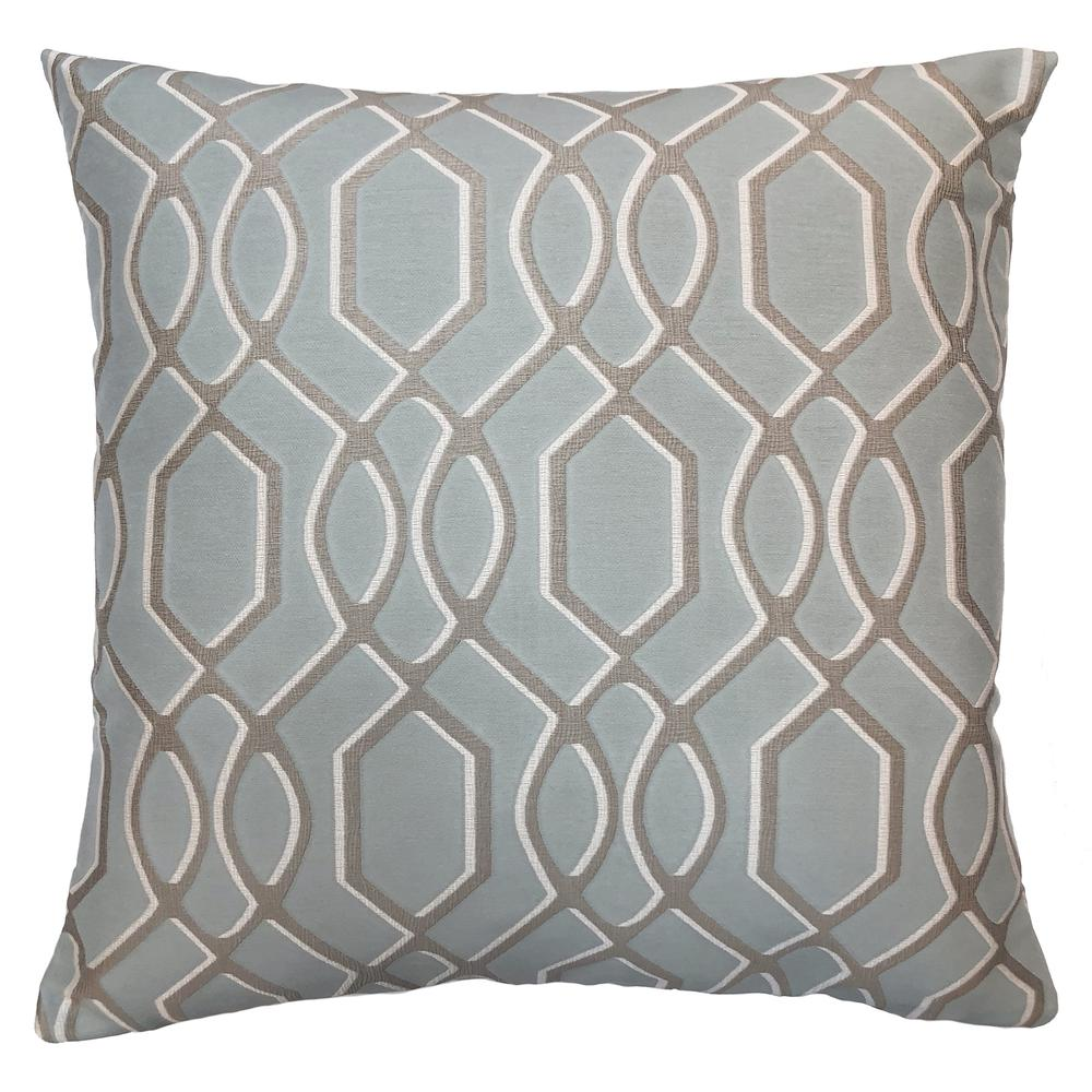 Contemporary Decorative Feather and Down Throw Pillow In Sea Jacquard Fabric. Picture 1