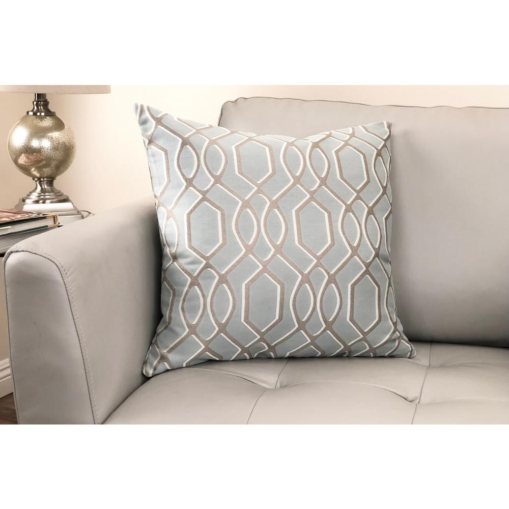 Contemporary Decorative Feather and Down Throw Pillow In Sea Jacquard Fabric. Picture 2
