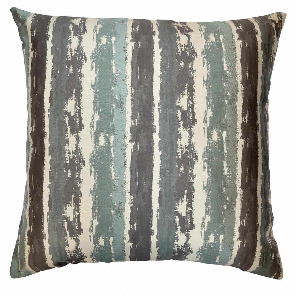 Contemporary Decorative Feather and Down Throw Pillow In Aqua Jacquard Fabric. Picture 1