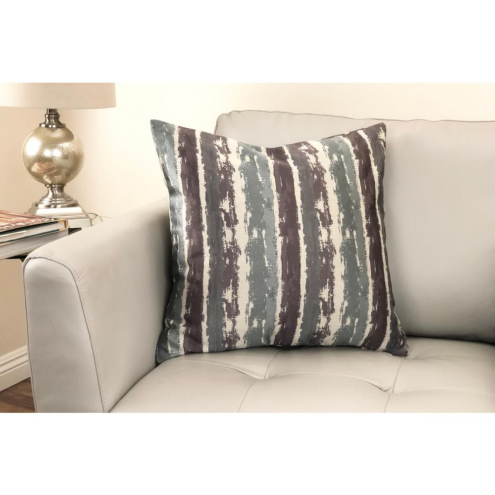 Contemporary Decorative Feather and Down Throw Pillow In Aqua Jacquard Fabric. Picture 2