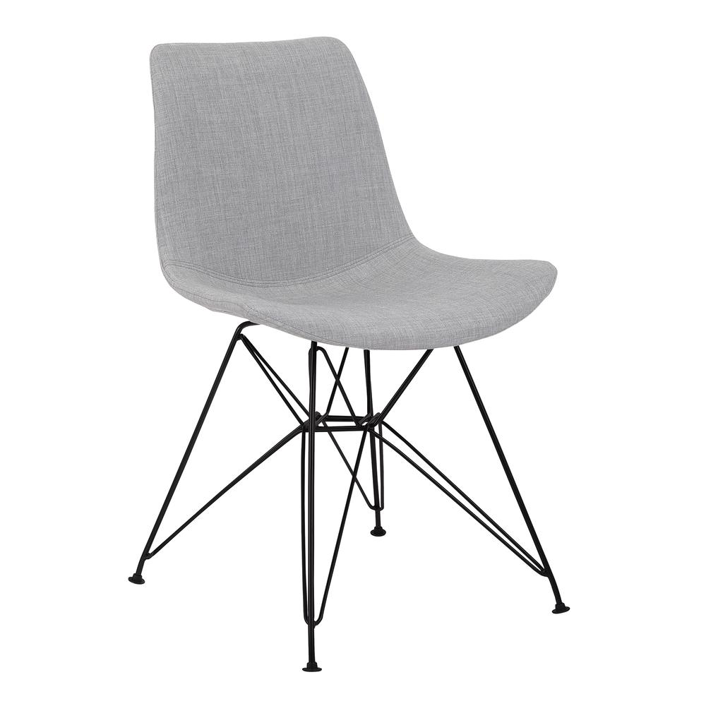 Armen Living Palmetto Contemporary Dining Chair in Grey Fabric with Black Metal Legs. Picture 1