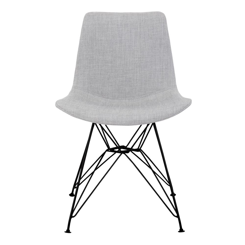 Armen Living Palmetto Contemporary Dining Chair in Grey Fabric with Black Metal Legs. Picture 2