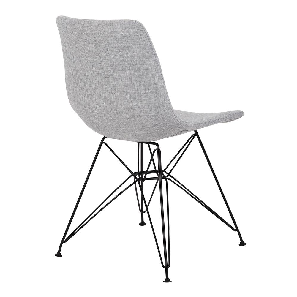 Armen Living Palmetto Contemporary Dining Chair in Grey Fabric with Black Metal Legs. Picture 3