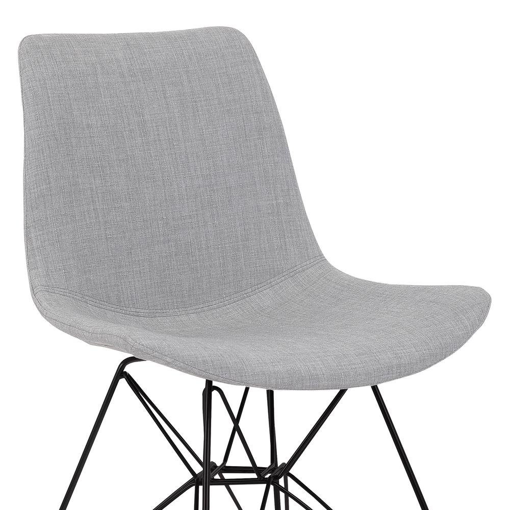 Armen Living Palmetto Contemporary Dining Chair in Grey Fabric with Black Metal Legs. Picture 4