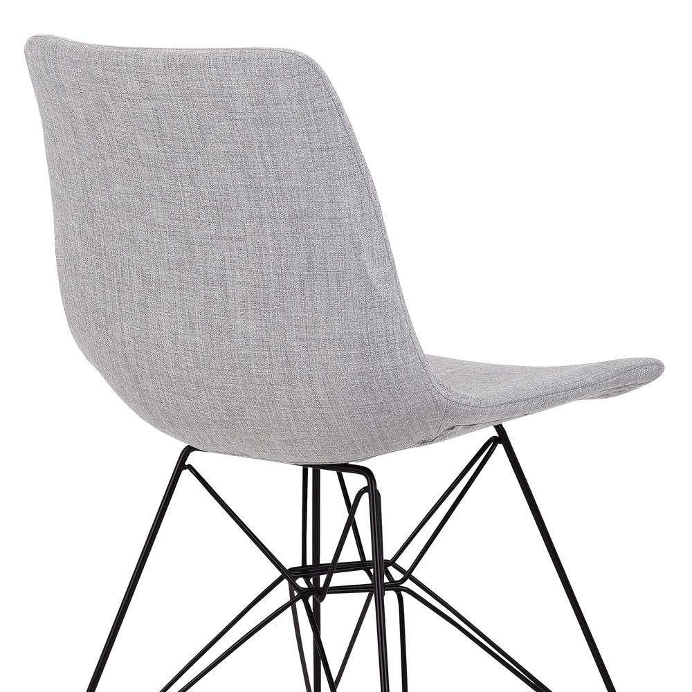 Armen Living Palmetto Contemporary Dining Chair in Grey Fabric with Black Metal Legs. Picture 5