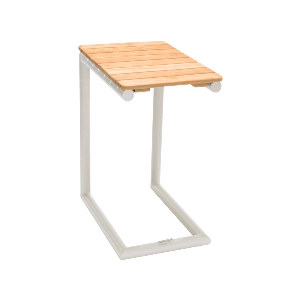 Portals Outdoor C-Shape Side Table in Light Sand Matte Finish and Natural Teak Wood Top. Picture 1