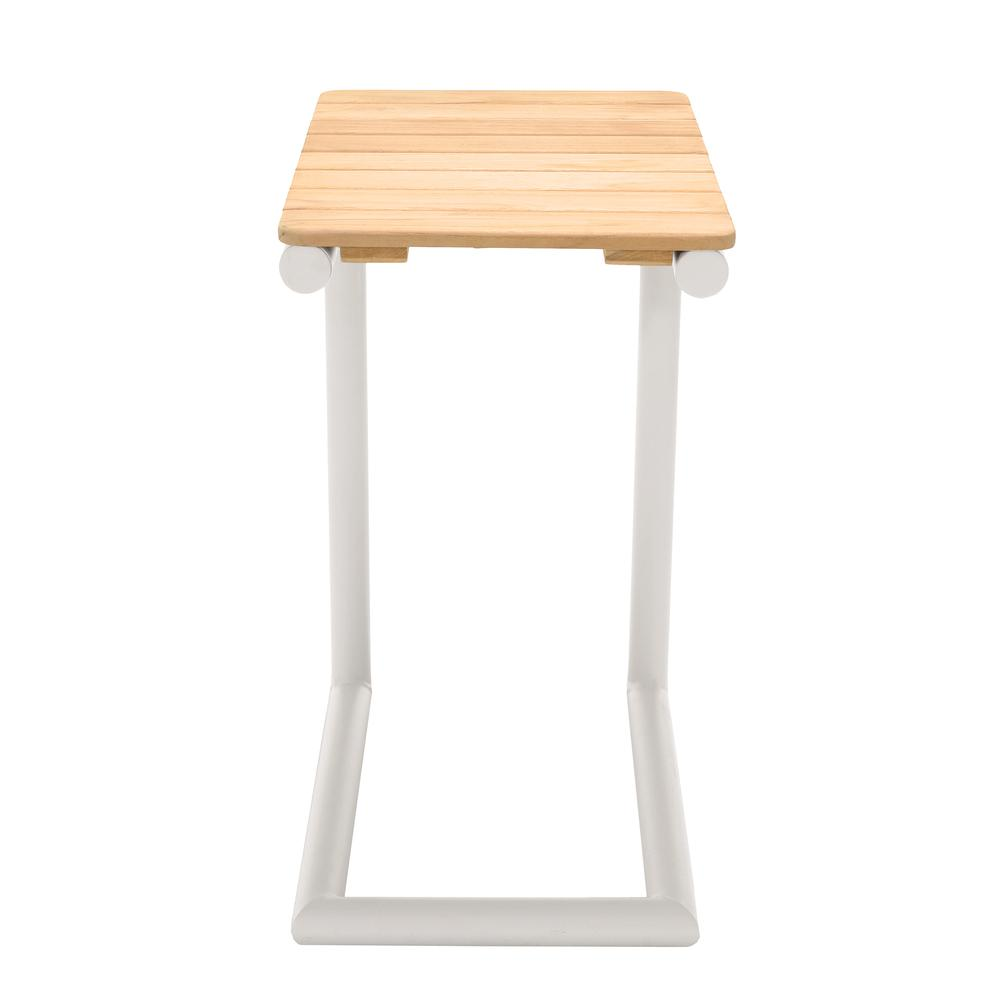 Portals Outdoor C-Shape Side Table in Light Sand Matte Finish and Natural Teak Wood Top. Picture 2
