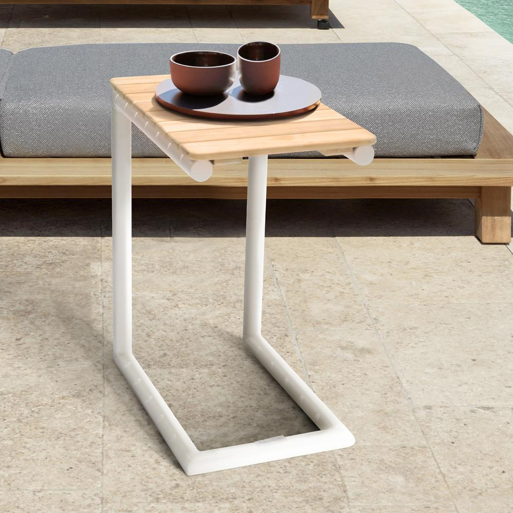 Portals Outdoor C-Shape Side Table in Light Sand Matte Finish and Natural Teak Wood Top. Picture 5