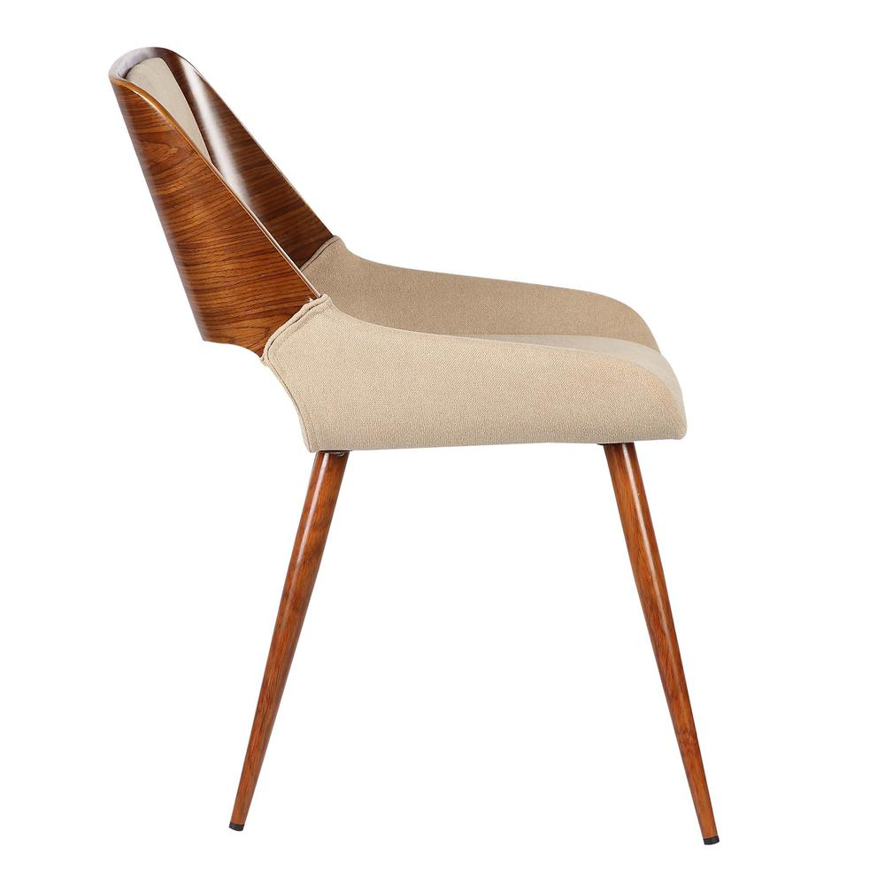 Mid-Century Dining Chair in Walnut Finish and Brown Fabric. Picture 3