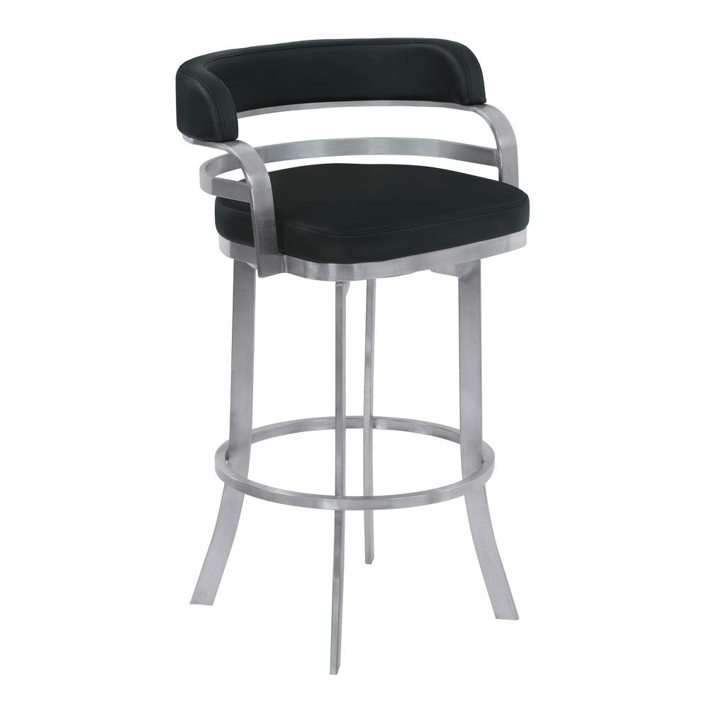 """Armen Living Prinz 26"""" Counter Height Metal Swivel Barstool in Black Faux Leather with Brushed Stainless Steel Finish. Picture 1"""