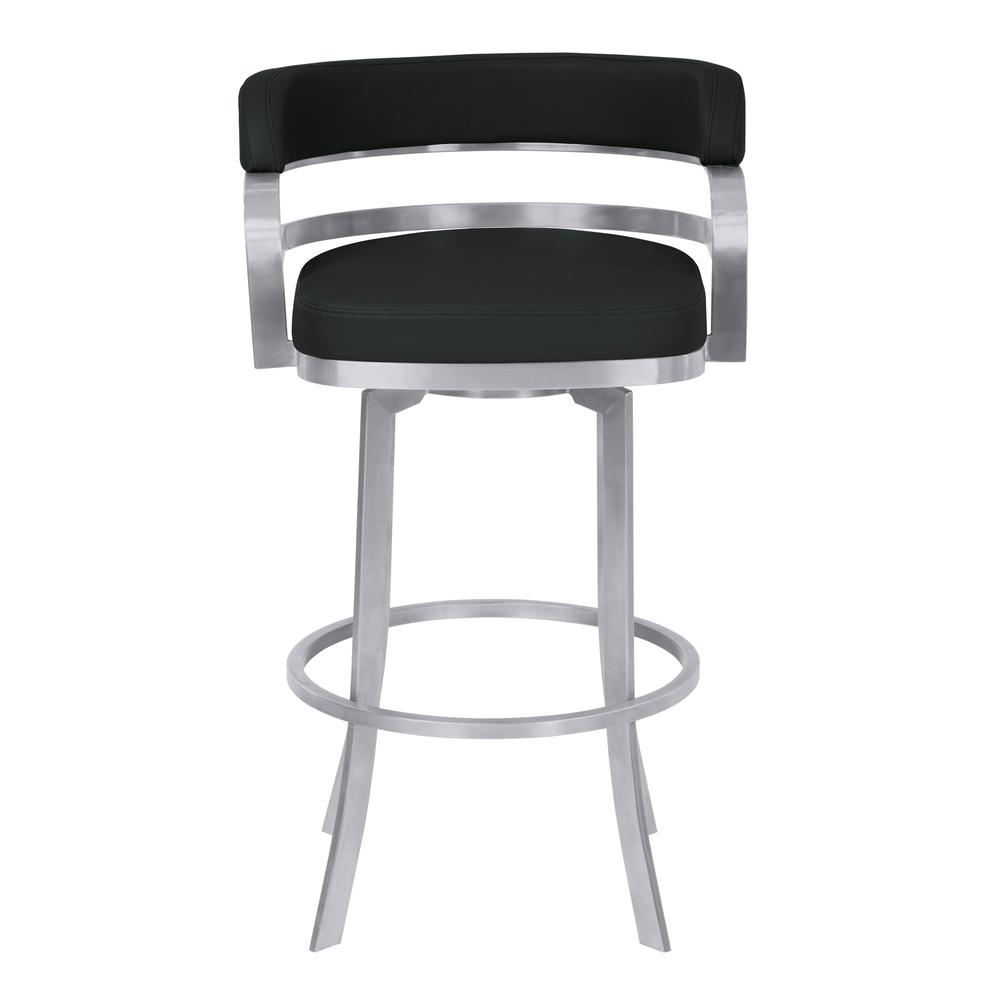 """Armen Living Prinz 26"""" Counter Height Metal Swivel Barstool in Black Faux Leather with Brushed Stainless Steel Finish. Picture 2"""