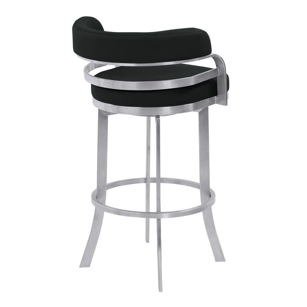 """Armen Living Prinz 26"""" Counter Height Metal Swivel Barstool in Black Faux Leather with Brushed Stainless Steel Finish. Picture 3"""