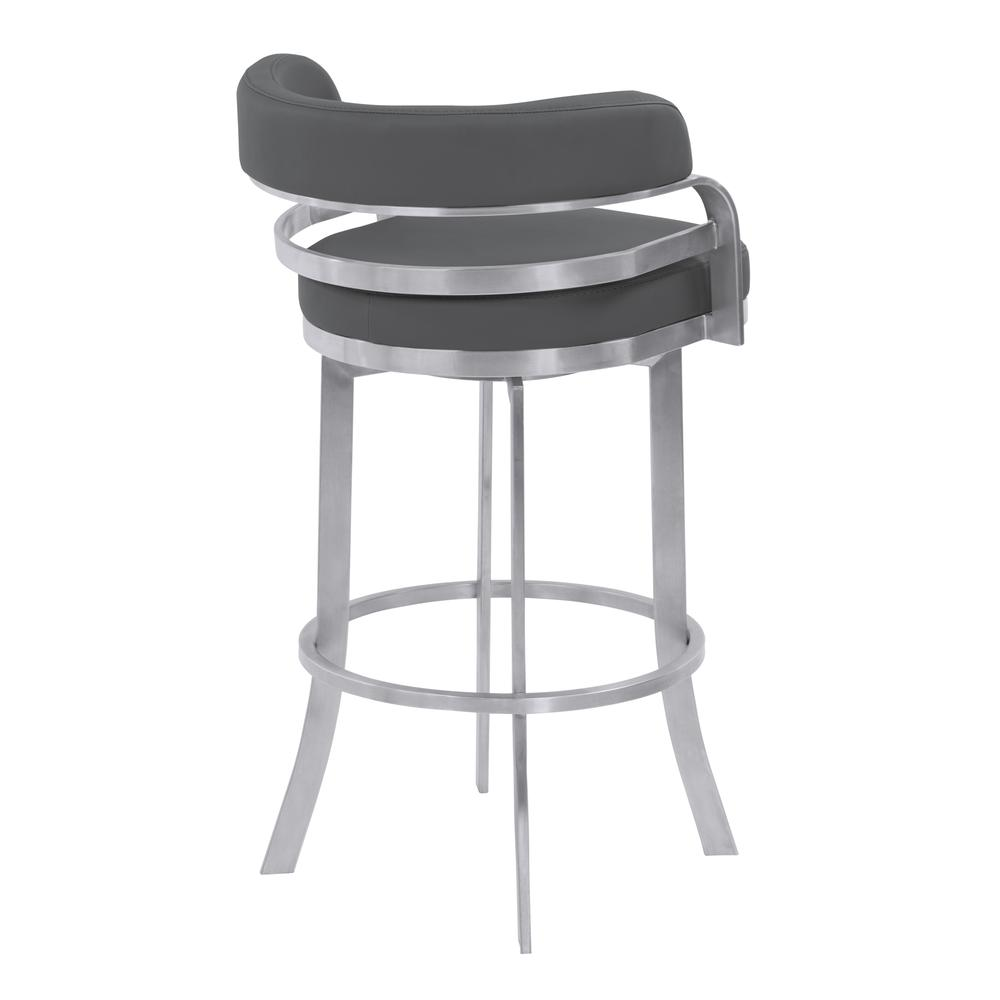"""Armen Living Prinz 26"""" Counter Height Metal Swivel Barstool in Gray Faux Leather with Brushed Stainless Steel Finish. Picture 3"""