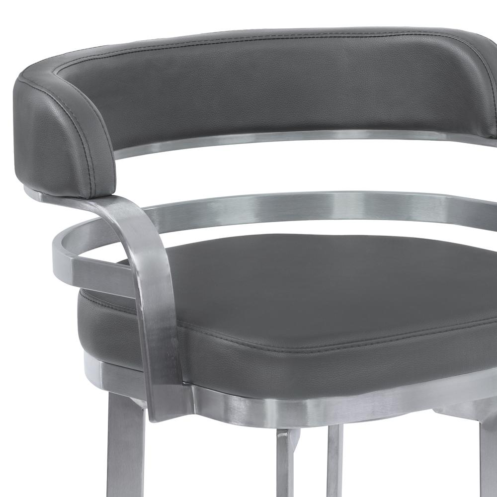 """Armen Living Prinz 26"""" Counter Height Metal Swivel Barstool in Gray Faux Leather with Brushed Stainless Steel Finish. Picture 4"""