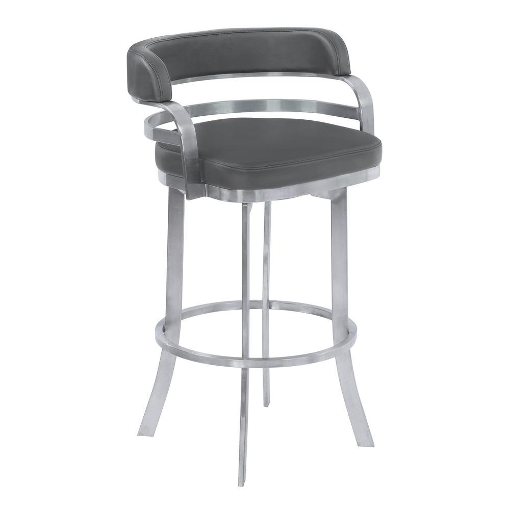 "Armen Living Prinz 30"" Bar Height Metal Swivel Barstool in Gray Faux Leather with Brushed Stainless Steel Finish. Picture 1"