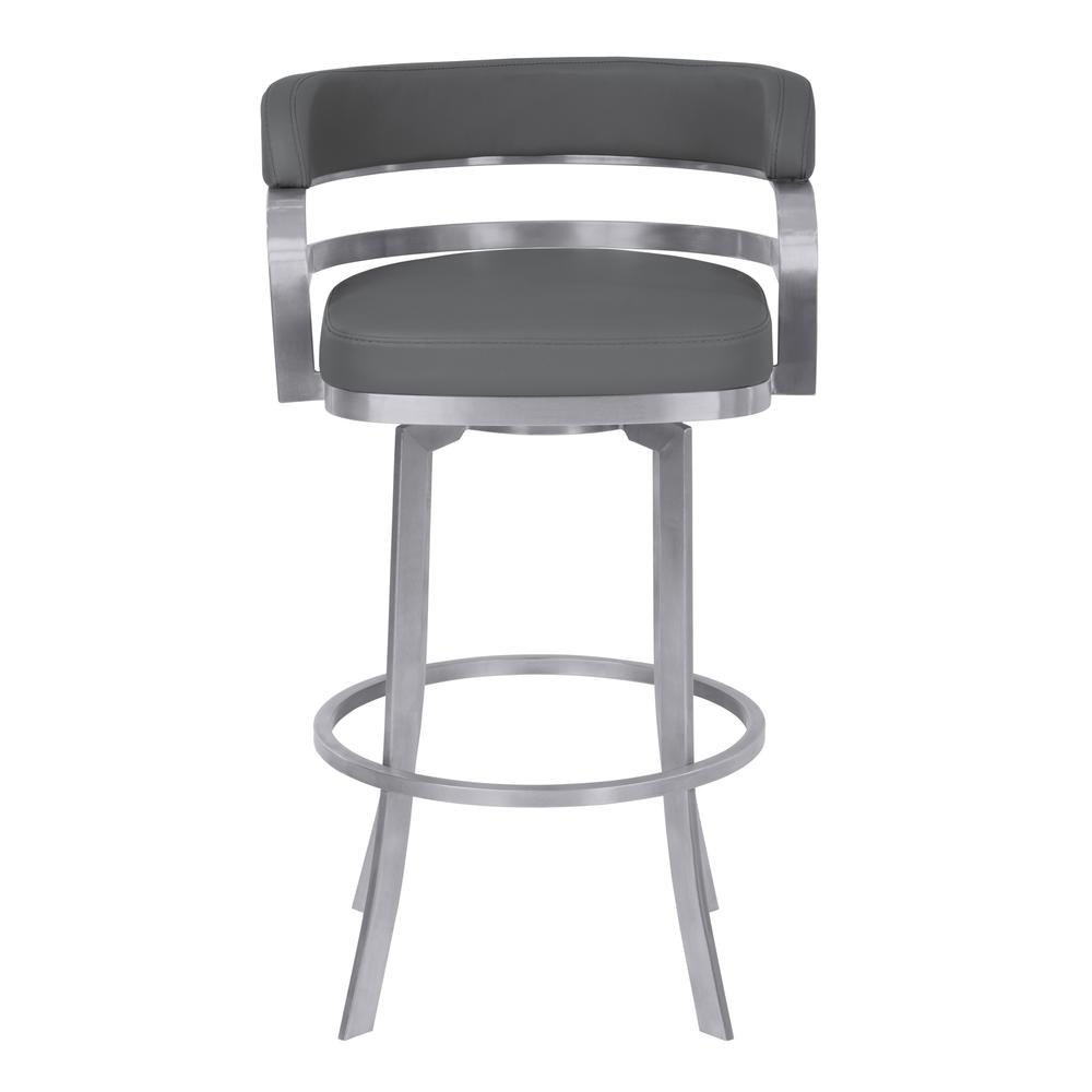"Armen Living Prinz 30"" Bar Height Metal Swivel Barstool in Gray Faux Leather with Brushed Stainless Steel Finish. Picture 2"