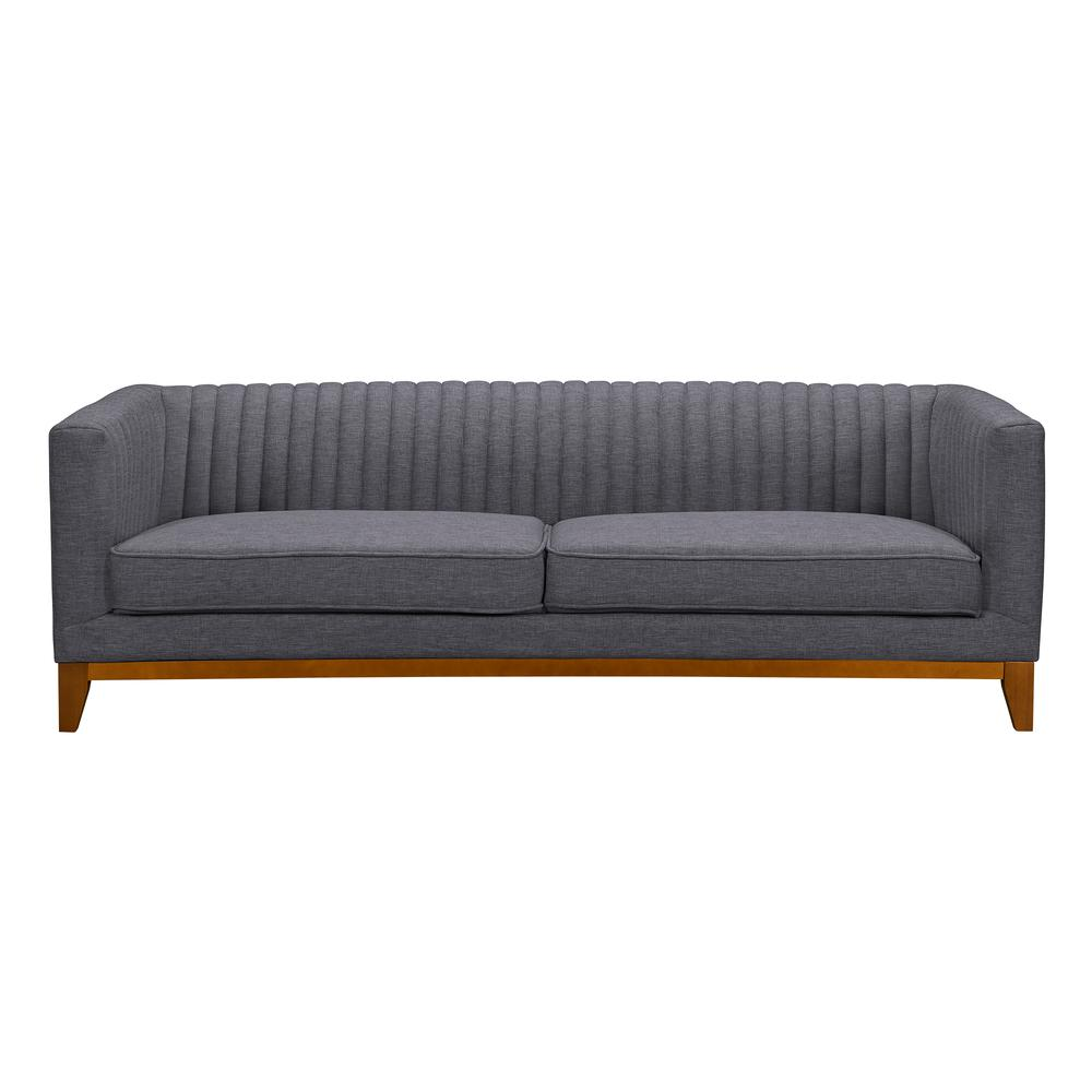 Prism Mid-Century Sofa in Champagne Wood Finish and Dark Grey Fabric. Picture 1
