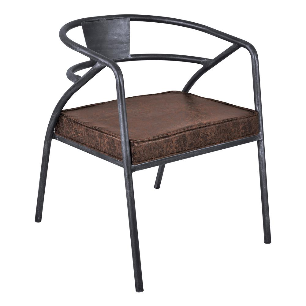 Paisley Modern Dining Chair in Industrial Grey Finish and Brown Fabric. Picture 1