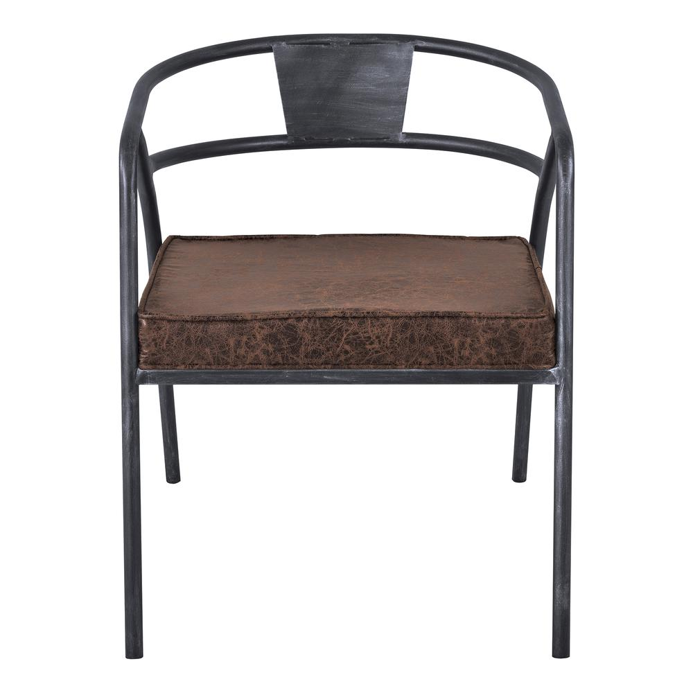 Paisley Modern Dining Chair in Industrial Grey Finish and Brown Fabric. Picture 2