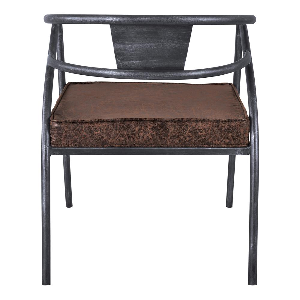 Paisley Modern Dining Chair in Industrial Grey Finish and Brown Fabric. Picture 4