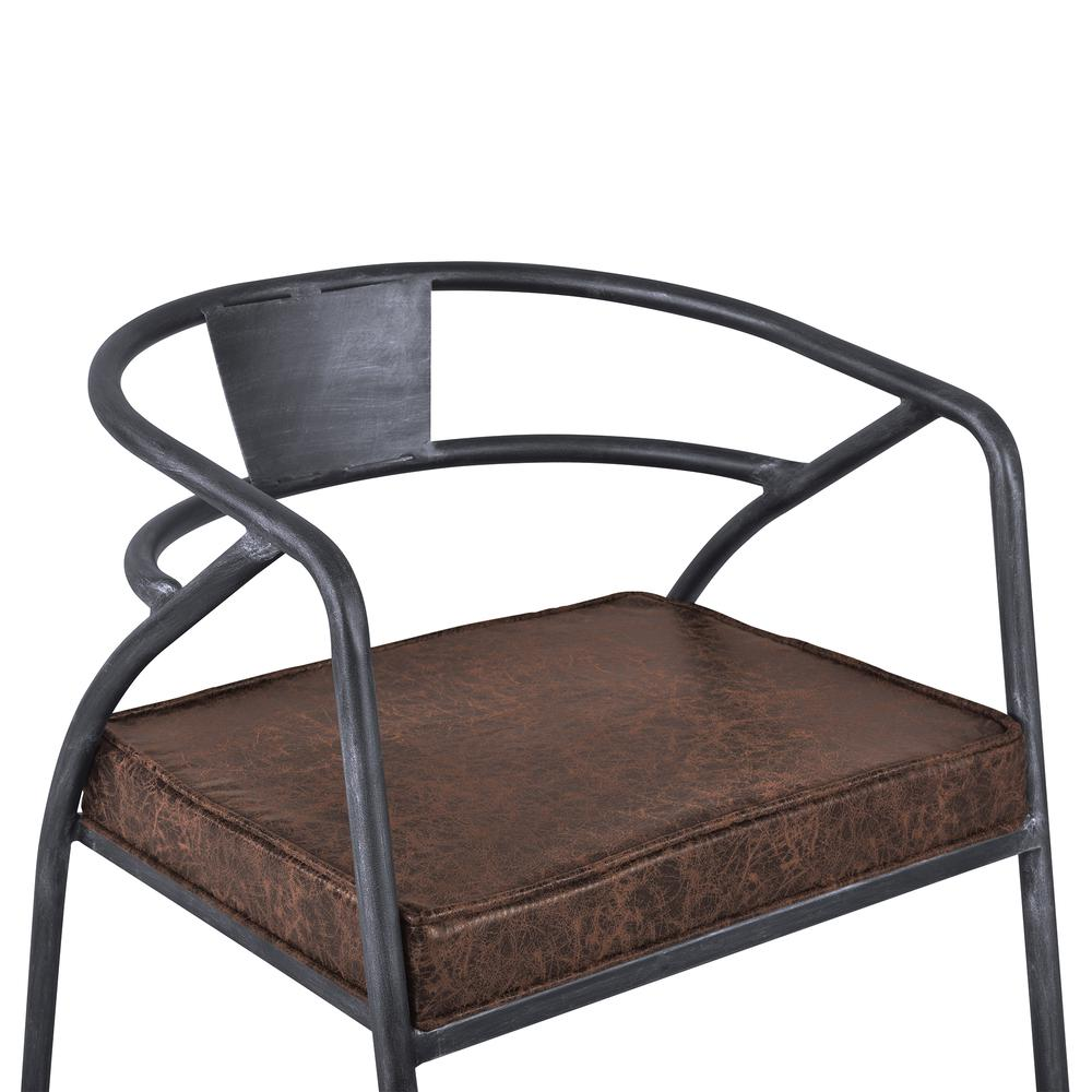Paisley Modern Dining Chair in Industrial Grey Finish and Brown Fabric. Picture 5