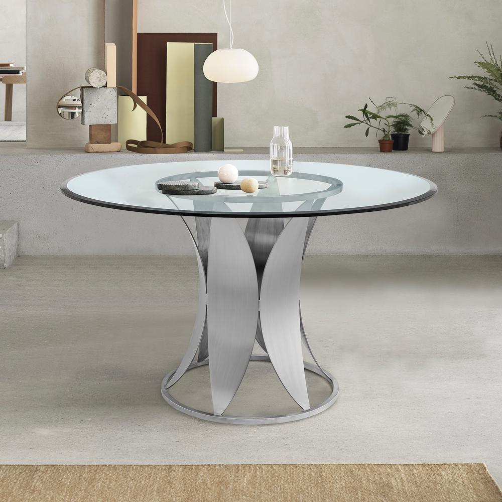Petal Modern Glass and Stainless Steel Round Pedestal Dining Table. Picture 6