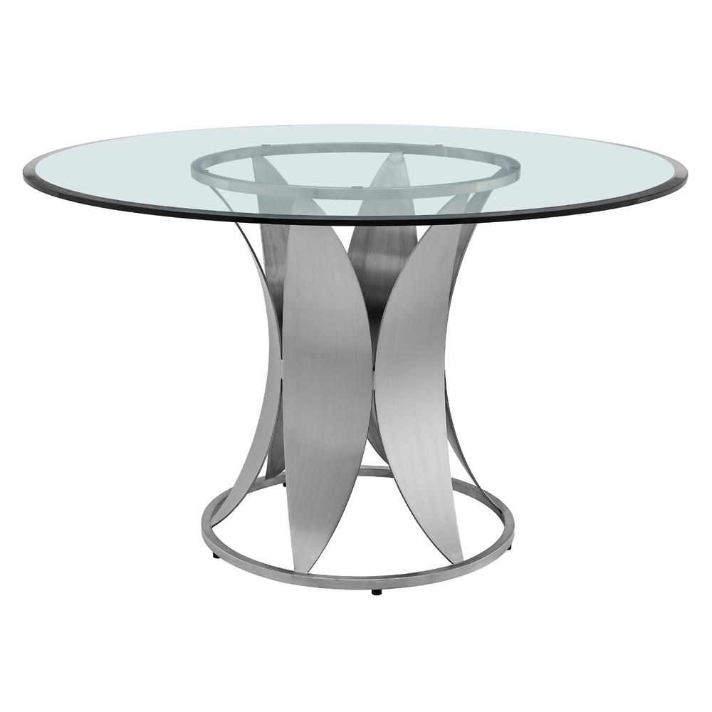 Petal Modern Glass and Stainless Steel Round Pedestal Dining Table. Picture 1