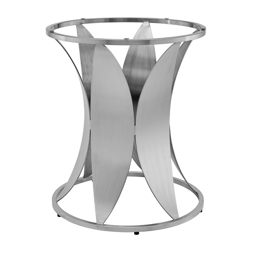 Petal Modern Glass and Stainless Steel Round Pedestal Dining Table. Picture 2