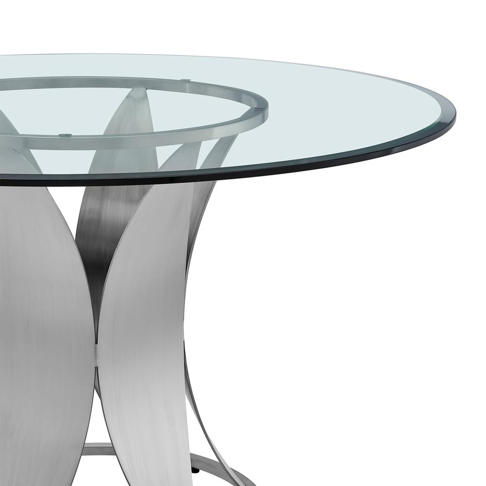 Petal Modern Glass and Stainless Steel Round Pedestal Dining Table. Picture 3