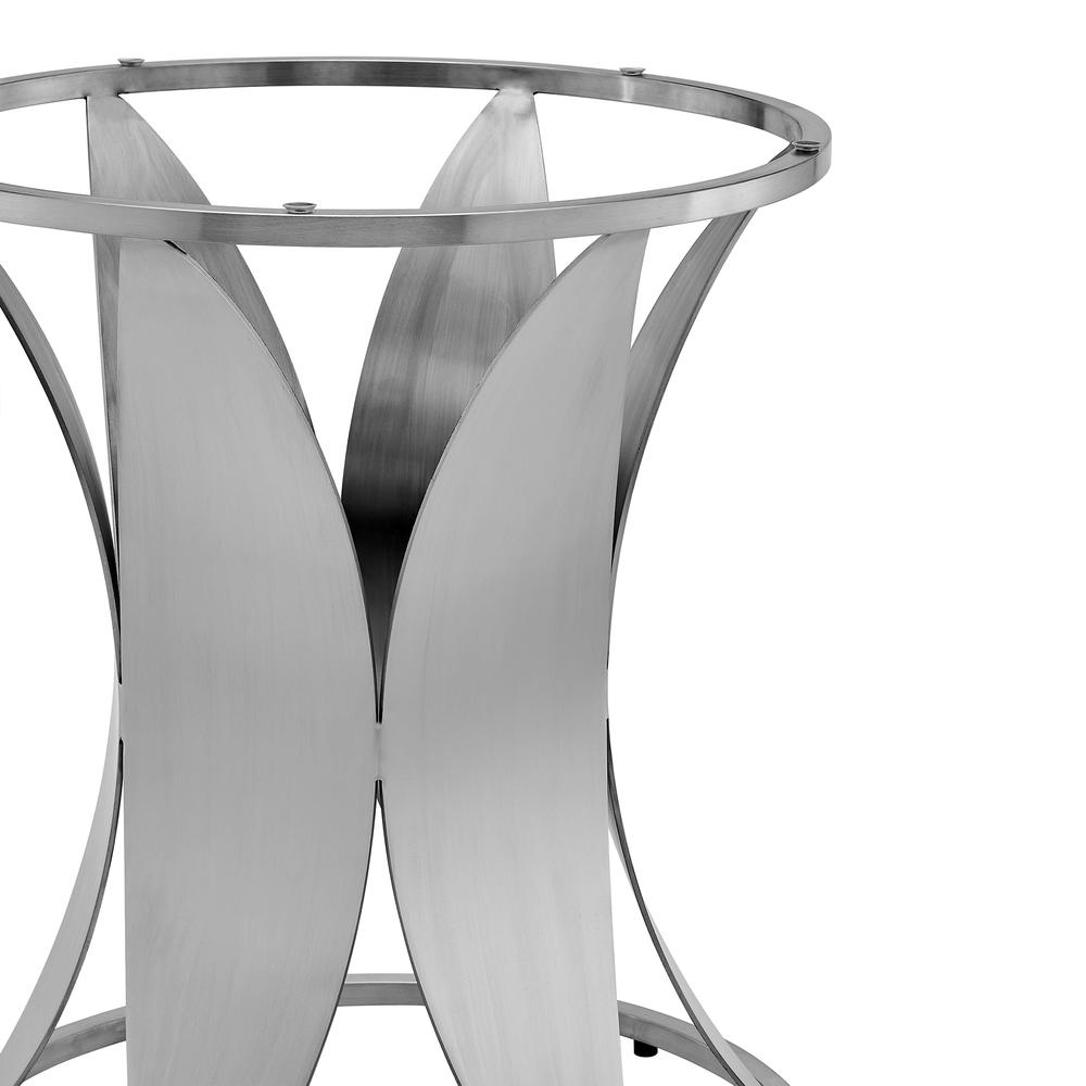 Petal Modern Glass and Stainless Steel Round Pedestal Dining Table. Picture 4