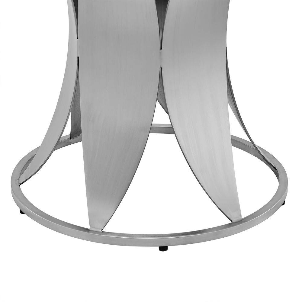 Petal Modern Glass and Stainless Steel Round Pedestal Dining Table. Picture 5
