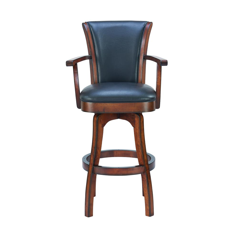 "Arm 26"" Counter Height Swivel Barstool in Rustic Cordovan Finish and Brown Bonded Leather. Picture 2"