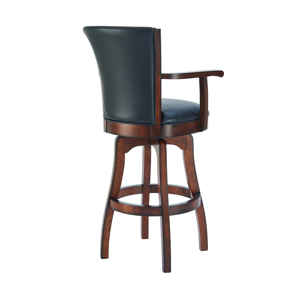 "Arm 26"" Counter Height Swivel Barstool in Rustic Cordovan Finish and Brown Bonded Leather. Picture 3"