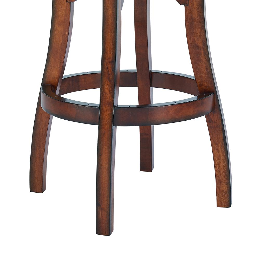 "Arm 26"" Counter Height Swivel Barstool in Rustic Cordovan Finish and Brown Bonded Leather. Picture 7"