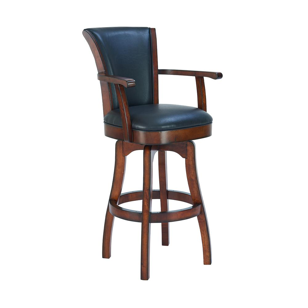 "Arm 30"" Bar Height Swivel Barstool in Rustic Cordovan Finish and Brown Bonded Leather. Picture 1"