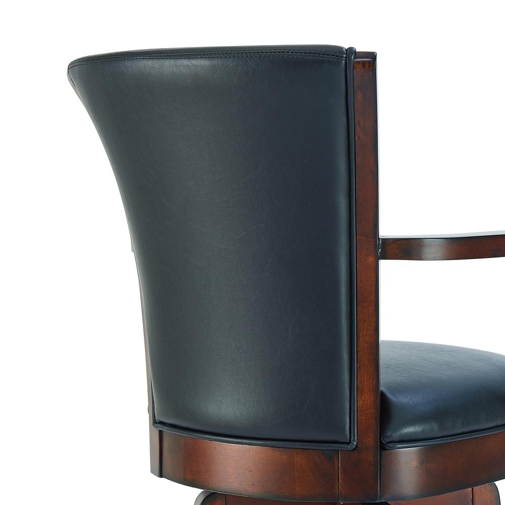 "Arm 30"" Bar Height Swivel Barstool in Rustic Cordovan Finish and Brown Bonded Leather. Picture 5"