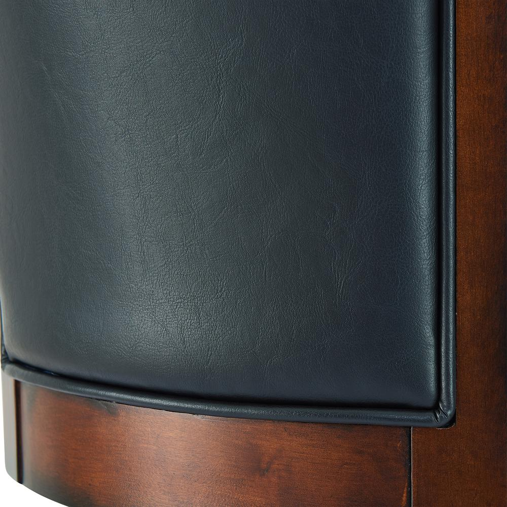 "Arm 30"" Bar Height Swivel Barstool in Rustic Cordovan Finish and Brown Bonded Leather. Picture 6"