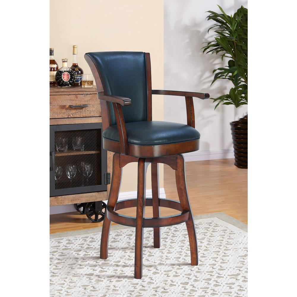 "Arm 30"" Bar Height Swivel Barstool in Rustic Cordovan Finish and Brown Bonded Leather. Picture 8"