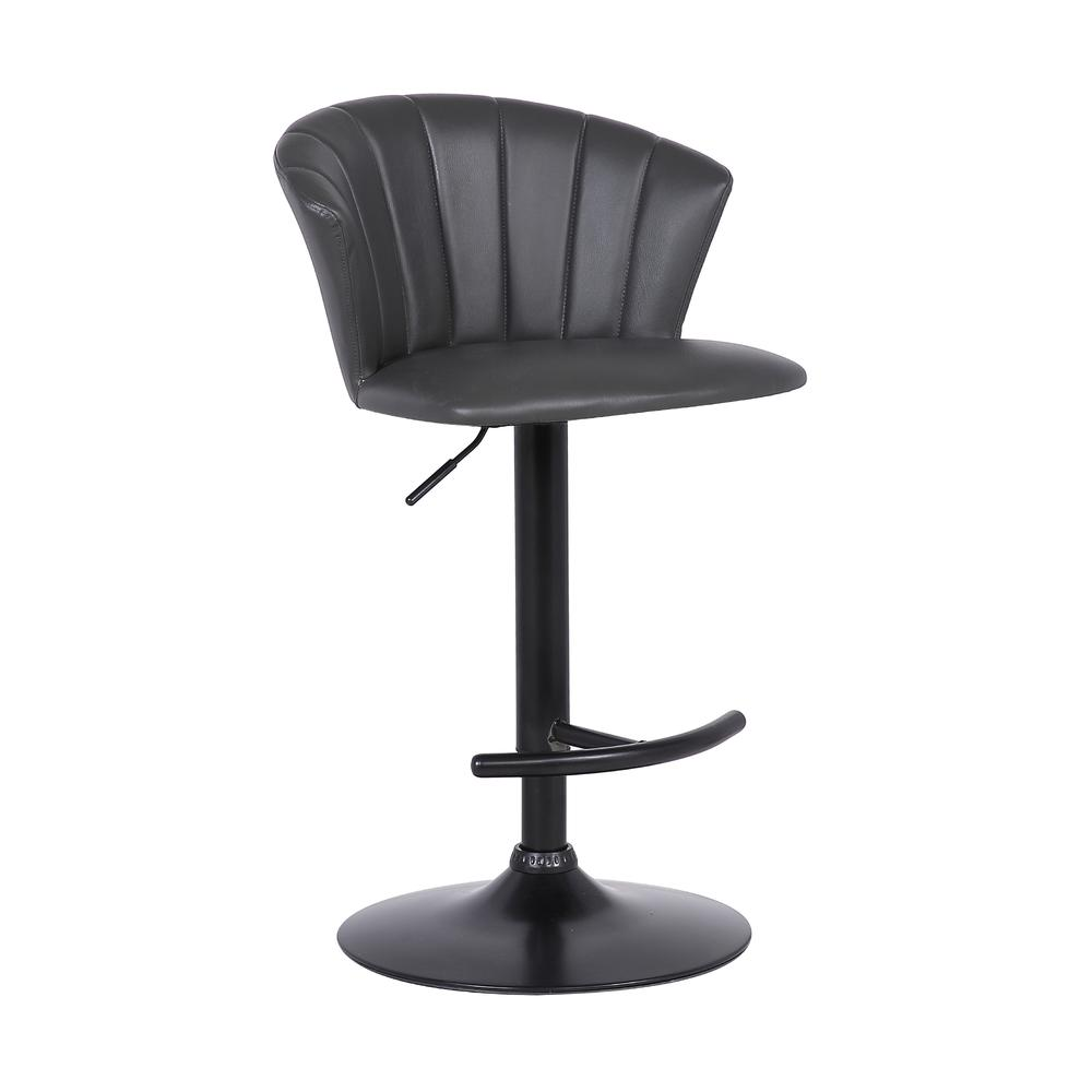Raquel Adjustable Modern Grey Faux Leather Bar Stool. Picture 1